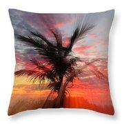Sunburst Through Palm Tree Throw Pillow