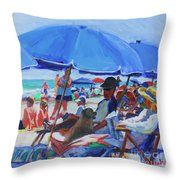 Sunday Beach Blues Throw Pillow