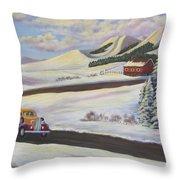 Sunday Drive In Winter Wonderland Throw Pillow