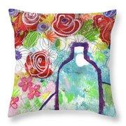Sunday Market Flowers 2- Art By Linda Woods Throw Pillow