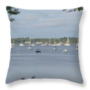 Sunday Morning Swim On Manhasset Bay In Port Washington, Ny Throw Pillow