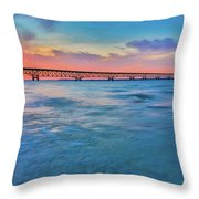 Sundown At Mackinac Bridge Throw Pillow