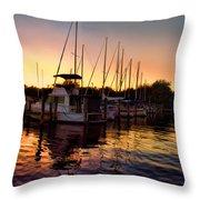 Sundown At The Marina 2 Throw Pillow