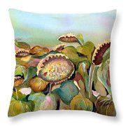 Sundown Flowers Throw Pillow