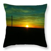 Sundown N The Fenceline Throw Pillow