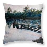 Sundown On The Broken Dock Throw Pillow