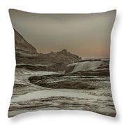 Sundown Over The Ocean Rocks Throw Pillow