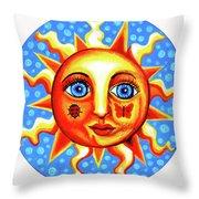Sunface With Ladybug Throw Pillow