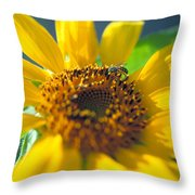 Sunflower And Bee Number Two Throw Pillow