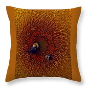 Sunflower And Bees Throw Pillow