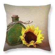 Sunflower And Green Glass Still Life Throw Pillow