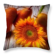 Sunflower And Pears Throw Pillow