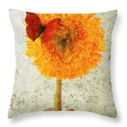 Sunflower And Red Butterfly Throw Pillow
