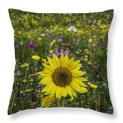 Sunflower And Wildflowers Throw Pillow