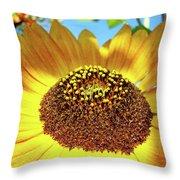 Sunflower Art Prints Orange Yellow Floral Garden Baslee Troutman Throw Pillow