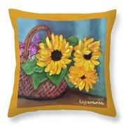 Sunflower Basket Throw Pillow