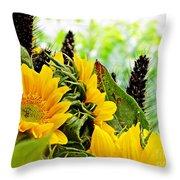 Sunflower Bouquet 2 Throw Pillow