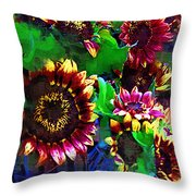 Sunflower Carnival Throw Pillow