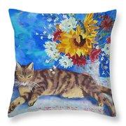 Sunflower Cat Throw Pillow
