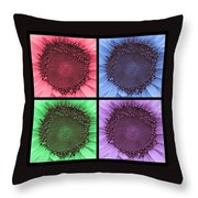 Sunflower Centered Color Collage 4 Throw Pillow