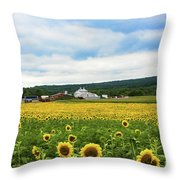 Sunflower Country Landscape  Throw Pillow
