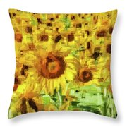 Sunflower Edges Throw Pillow