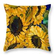Sunflower Faces Throw Pillow
