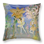 Sunflower Fairies Throw Pillow