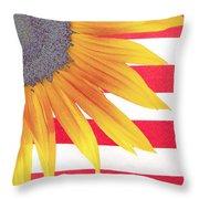 Sunflower Flag Throw Pillow