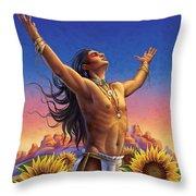 Sunflower - Glorious Success Throw Pillow by Anne Wertheim
