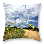 Sunflower Hitchhikers Throw Pillow