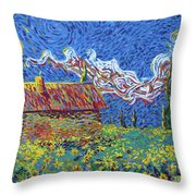 Sunflower House Throw Pillow