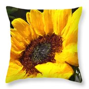 Sunflower Impression Throw Pillow