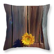 Sunflower In Barn Wood Throw Pillow by Garry Gay