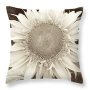 Sunflower In Soft Sepia Throw Pillow