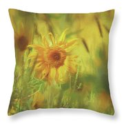 Sunflower In The Wind Painting Throw Pillow