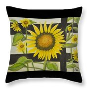 Sunflower In Your Face Throw Pillow