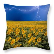 Sunflower Lightning Field  Throw Pillow