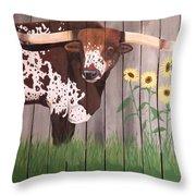 Sunflower Longhorn Throw Pillow