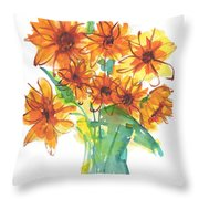 Sunflower Medley II Watercolor Painting By Kmcelwaine Throw Pillow