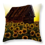 Sunflower Morning With Barn Throw Pillow