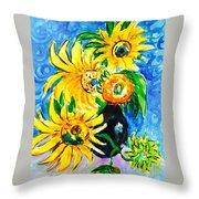 Sunflower On Black Vase Throw Pillow