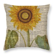 Sunflower Over Dictionary Page Throw Pillow by Anna W