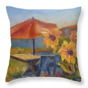 Sunflower Picnic Throw Pillow