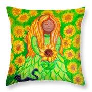 Sunflower Princess Throw Pillow by Nick Gustafson