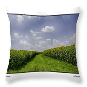 Sunflower Row Throw Pillow