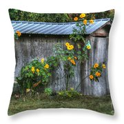 Sunflower Shed Throw Pillow