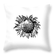 Sunflower Silhouette Throw Pillow