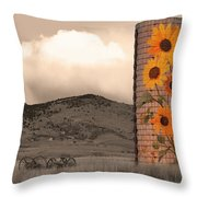 Sunflower Silo In Boulder County Colorado Sepia Color Print Throw Pillow