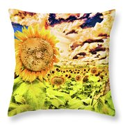 Sunflower Storm Throw Pillow